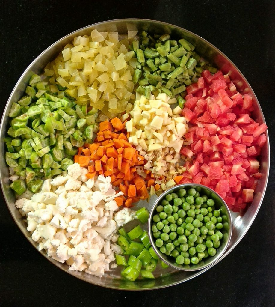 chopped vegetables for pickle